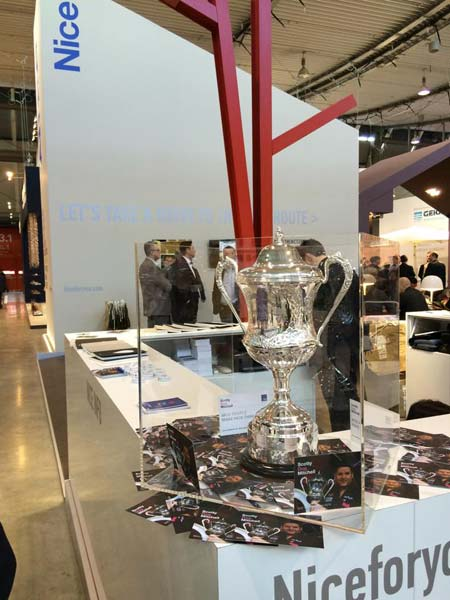 World Championship Trophy in Glass Box at Nice Booth