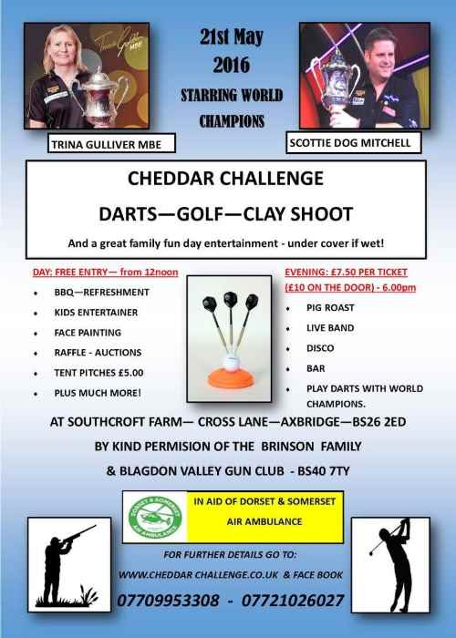 Cheddar Challenge Darts Golf and Clay Shoot Poster