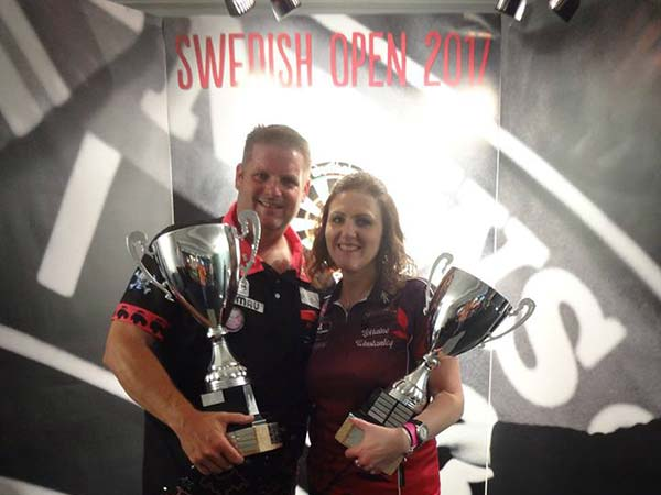Swedish Open 2017 Darts - Singles Champions Scott Mitchell and Lorraine Winstanley